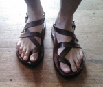 Custom Sandals on happy feet